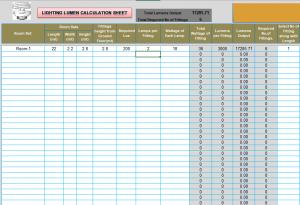 8 Bảng Excell tính toán thiết kế hệ thống chiếu sáng phòng ốc theo Lumen Lighting Lumen Calculation 22 8 12