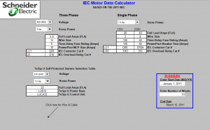9 Bang chon thiet bi Schneider cho Motor theo tieu chuan IEC 2011 NEC