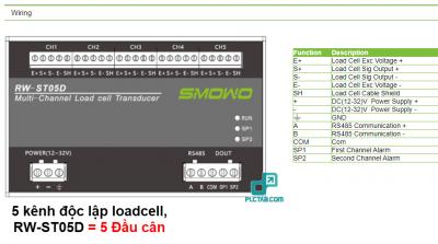 Bo doc 5 kenh Loadcell doc tin hieu mV do chinh xac cao 24bit truyen thong rs485 RW ST05D dau can 5 kenh 4