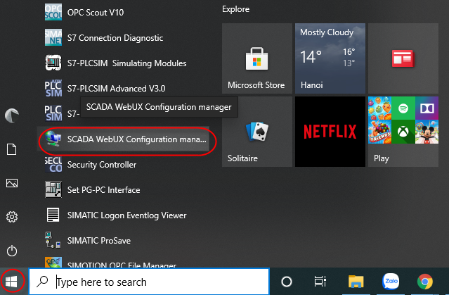 SCADA WebUX Configuration manager